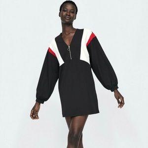 ZARA Black Mod Front Zip Color Block Mini Dress